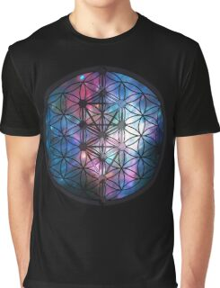 Sacred Geometry: Flower Of Life / Tree Of Life (Painted Cosmos) Graphic T-Shirt