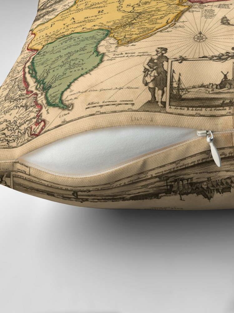 Alternate view of Old map 2 Throw Pillow