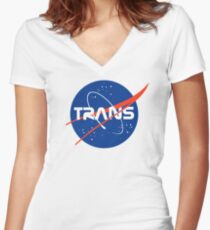 Trans* - Nasa Logo inspired design. Women's Fitted V-Neck T-Shirt