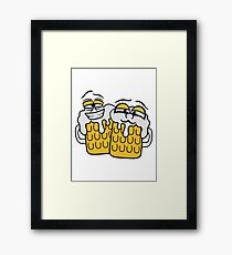friends team crew cool funny face alive comic cartoon thirst logo beer pitcher drinking drinking party celebrate drinking alcohol symbol cool shirt oktoberfest Framed Print