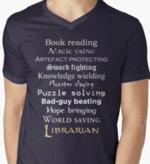 Librarian white text Men's V-Neck T-Shirt