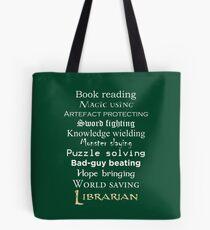 Weißer Text des Bibliothekars Tote Bag