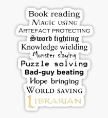 Librarian black text Sticker