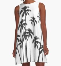 Black and White Exotic Tropical Palm Trees A-Line Dress