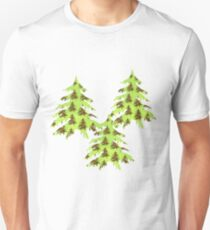 Sparkly Christmas tree on abstract green paper T-Shirt