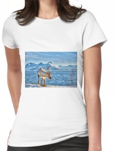 Reindeer in snow covered landscape at sea Womens Fitted T-Shirt