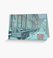 Dublin Fair City at Christmas Greeting Card