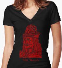 Vlad Dracula Tepes The Impaler Vampire Women's Fitted V-Neck T-Shirt