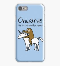 Onwards! At A Reasonable Speed (Sloth Riding Unicorn) iPhone Case/Skin