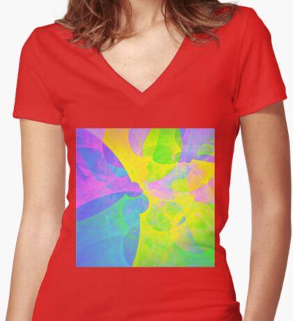 Bright #Fractal Art Fitted V-Neck T-Shirt