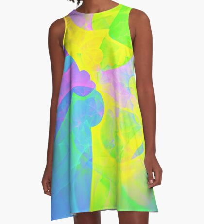 Bright #Fractal Art A-Line Dress