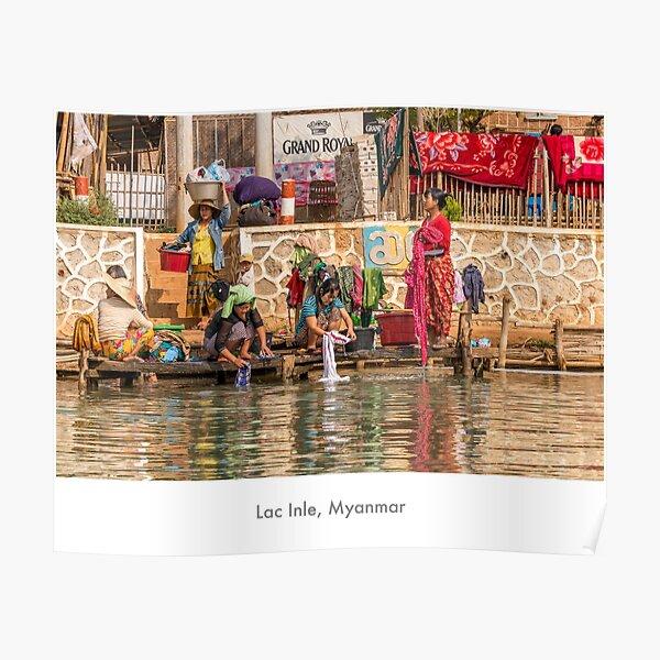 Women at Inle Lake Poster