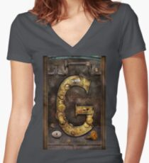 Steampunk - Alphabet - G is for Gears Women's Fitted V-Neck T-Shirt