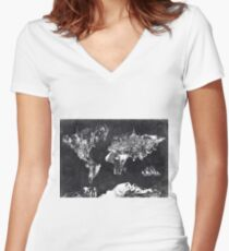 world map black and white Women's Fitted V-Neck T-Shirt