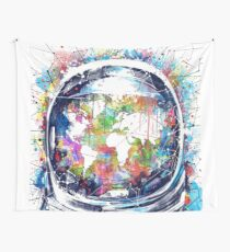 astronaut world map 3 Wall Tapestry