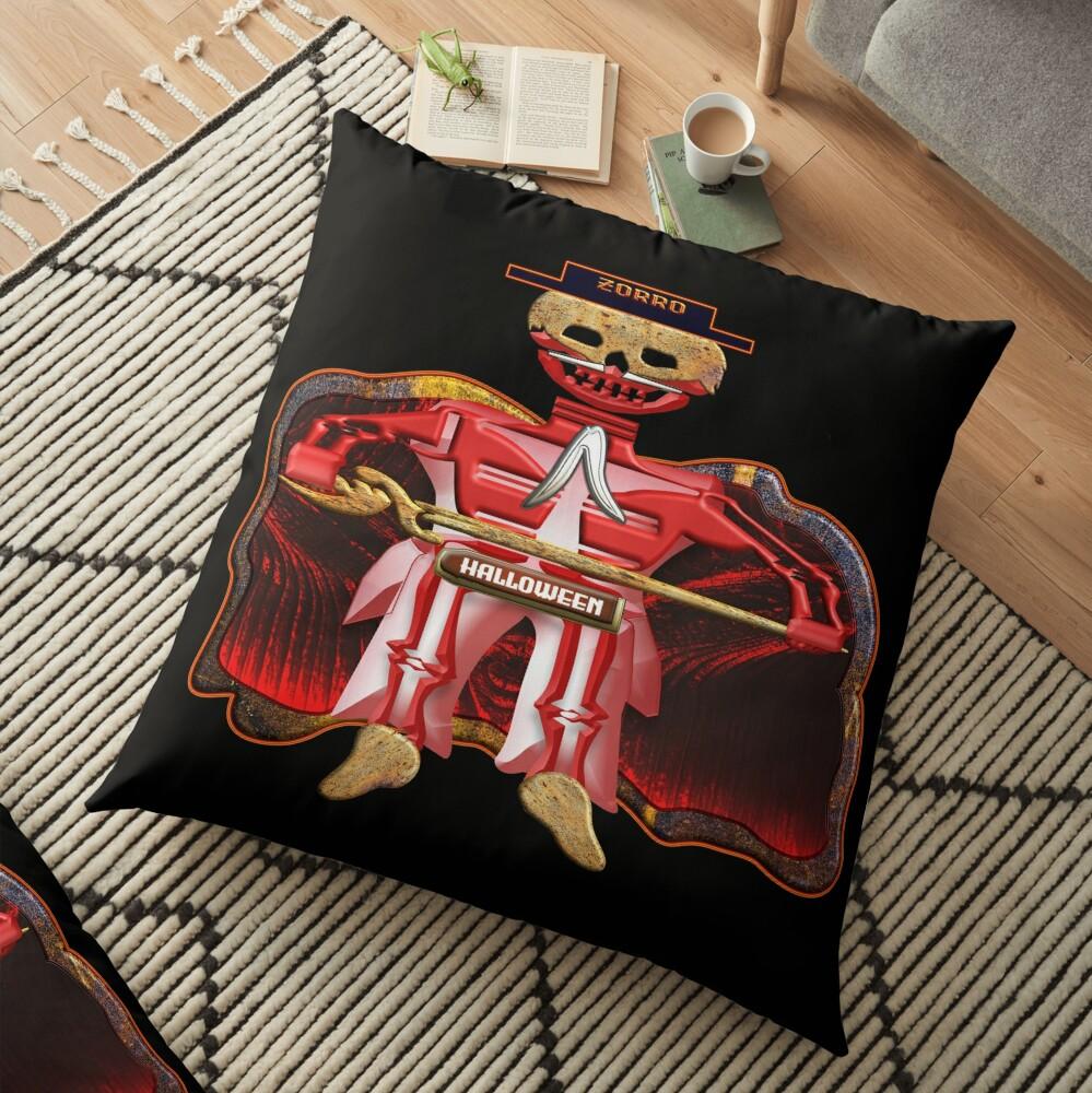 THE LEGEND OF ZORRO - ZORRO HALLOWEEN - ZORRO SKULL & SKELETON - HALLOWEEN PARTY - CHRISTMAS PARTY - GREAT FUN GIFT FOR THE HOLIDAYS. Floor Pillow