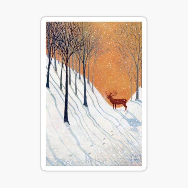 Deer in Winter Wood Sticker