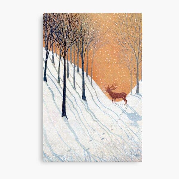 Deer in Winter Wood Metal Print