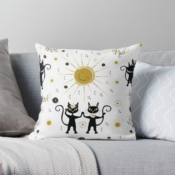 Black cats dancing with sun Throw Pillow