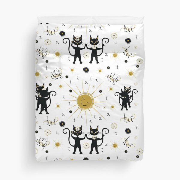 Black cats dancing with sun Duvet Cover