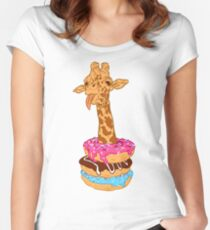 Donuts giraffe Fitted Scoop T-Shirt