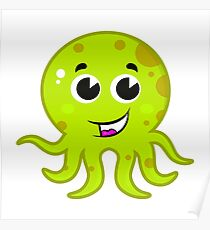 Cartoon octopus isolated on white : green Poster
