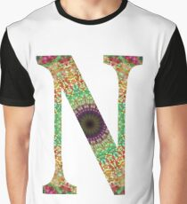 Flower Mandala Initial N Graphic T-Shirt