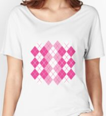 Pink Argyle Design Women's Relaxed Fit T-Shirt