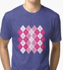 Pink Argyle Design Tri-blend T-Shirt