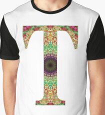 Flower Mandala Initial T Graphic T-Shirt