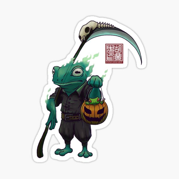 A Frog and His Son Halloween Sticker