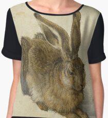 Albrecht Durer - Hare 1502. Young hare painting: cute hare,  hares,  rabbits,  animals,  bunnies,  realistic ,  wild,  animal,  rabbit,  wild animals,  fur  Women's Chiffon Top