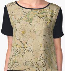 Alphonse Mucha - Peonies 1897  Garden, love, dress, fashion,spring, summer, peonies, pink, blossom, beauty Women's Chiffon Top