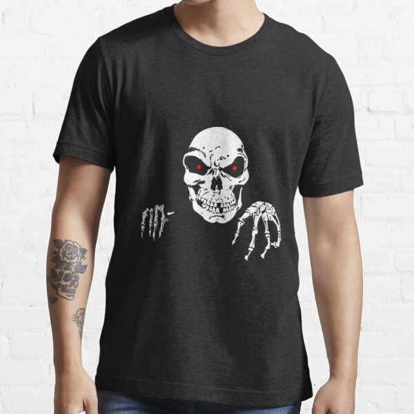 Skull with red eyes Vector illustration of scary skull and hand bones. Essential T-Shirt