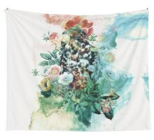 Bird in Flowers Wall Tapestry