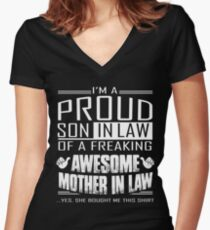 I'm A Proud Son In Law Of A Freaking Awesome Mother In Law Women's Fitted V-Neck T-Shirt