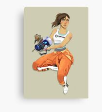 Chell and Potato GLADoS Canvas Print