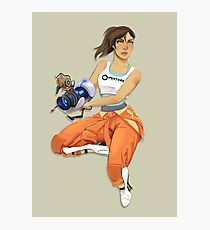 Chell and Potato GLADoS Photographic Print