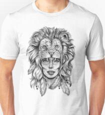 Mädchen mit Löwenkopf Slim Fit T-Shirt
