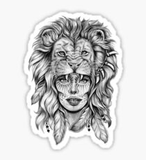 Girl with Lion Head Sticker