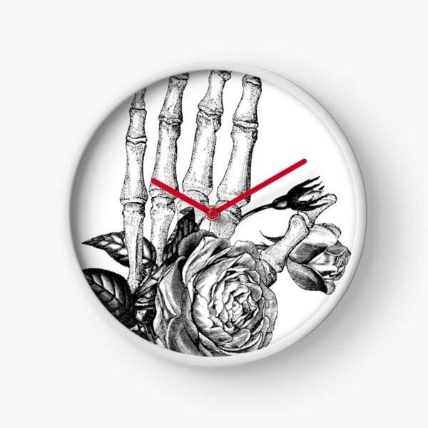 Floral Skeleton Hand Clock