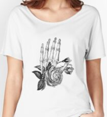 Floral Skeleton Hand Women's Relaxed Fit T-Shirt