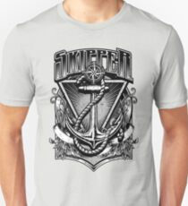 Vintage Nautical Skipper with Anchor and Rope Unisex T-Shirt