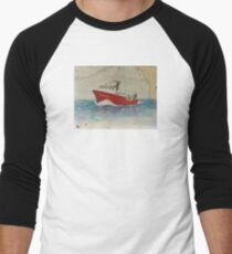 WINDJAMMER Trawl Fish Boat Cathy Peek Nautical Chart Map Men's Baseball ¾ T-Shirt