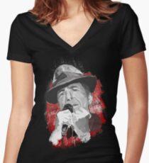 Halleluja - Leonard Cohen Tailliertes T-Shirt mit V-Ausschnitt