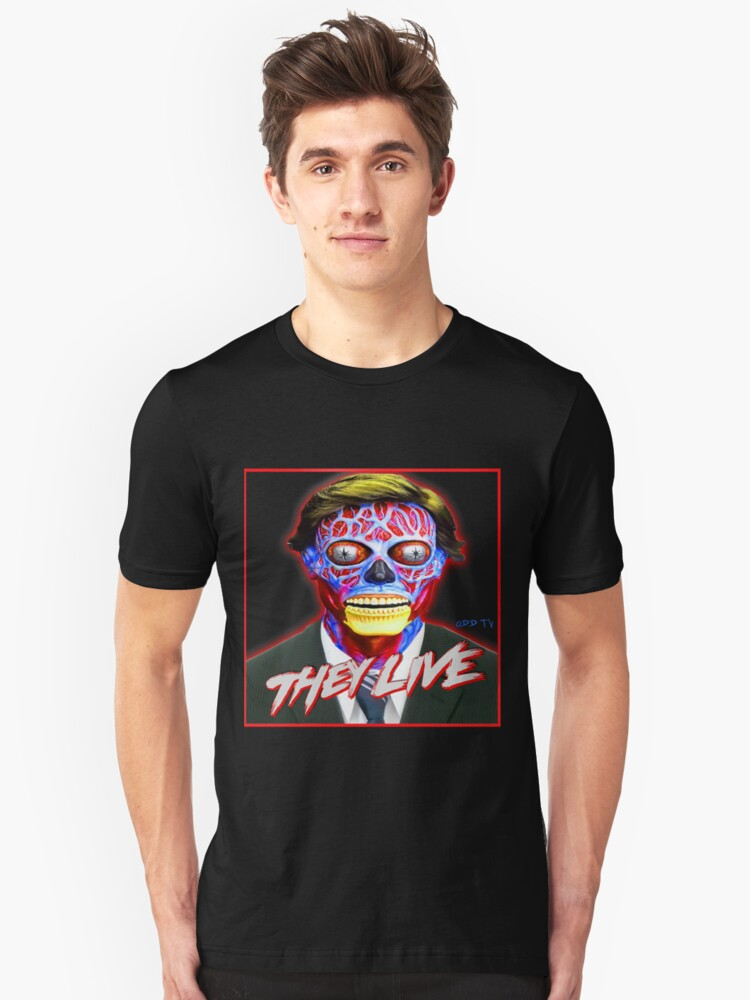Alternate view of THEY LIVE - Red & Blue Slim Fit T-Shirt