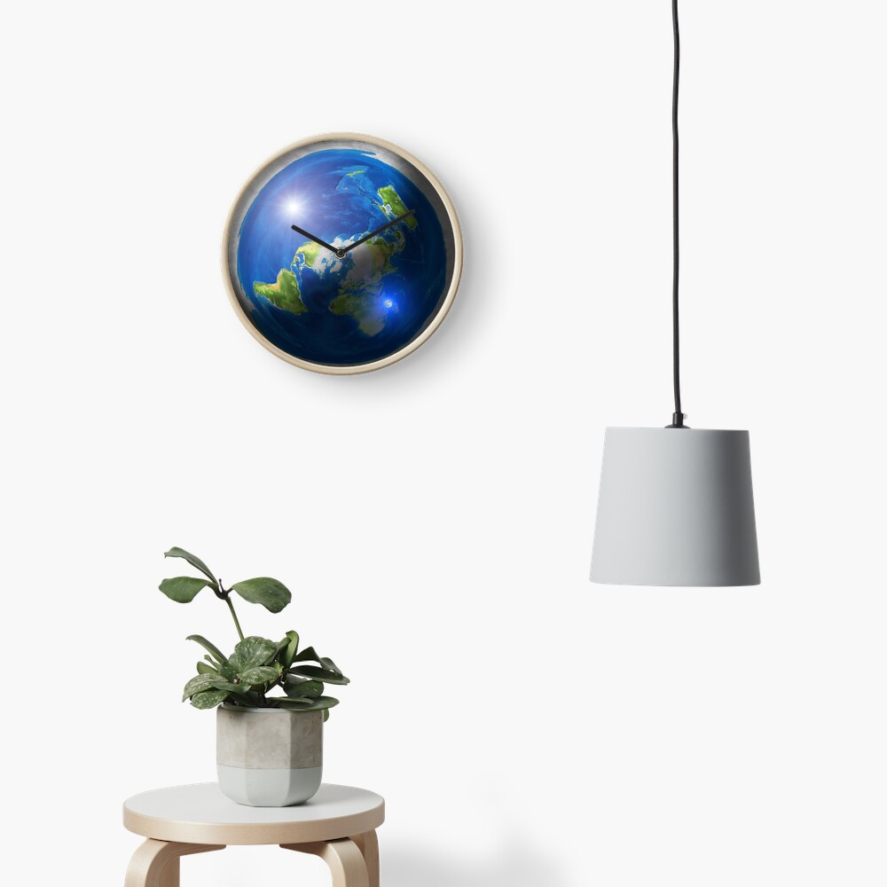 Flat Earth with Sun, Moon & Polaris Clock