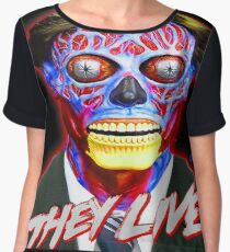 THEY LIVE - Red & Blue Chiffon Top