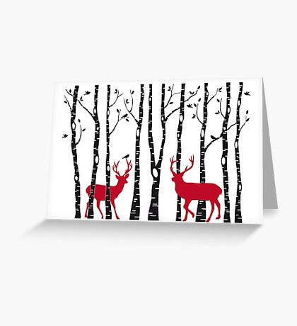 Christmas deers in birch tree forest Greeting Card