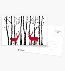Christmas deers in birch tree forest Postcards